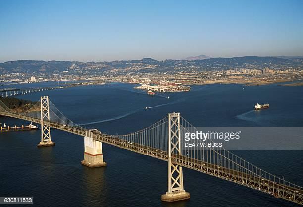 San FranciscoOakland Bay Bridge aerial view San Francisco California United States of America