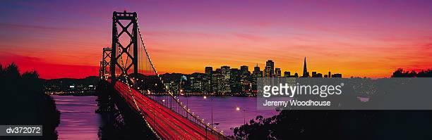 San Francisco's Bay Bridge at sunset