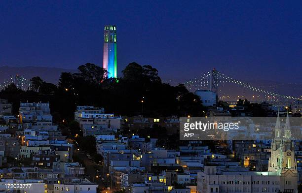 San Francisco's Coit Tower is lit up with rainbowcolored lights on Sunday June 30 2013 for Gay Pride which took place this weekend in California AFP...