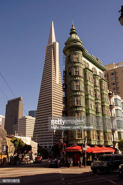 San Francisco's Flatiron building is a highrise completed in 1913 at Sutter Street in the Financial District of San Francisco.