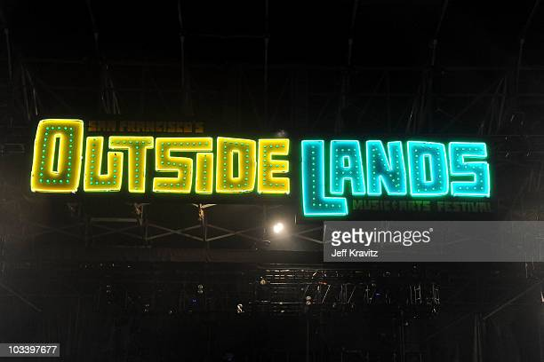 San Francisco's Outside Lands Music Arts Festival neon sign is seen over the main stage at 2010 Outside Lands Music and Arts Festival at Golden Gate...