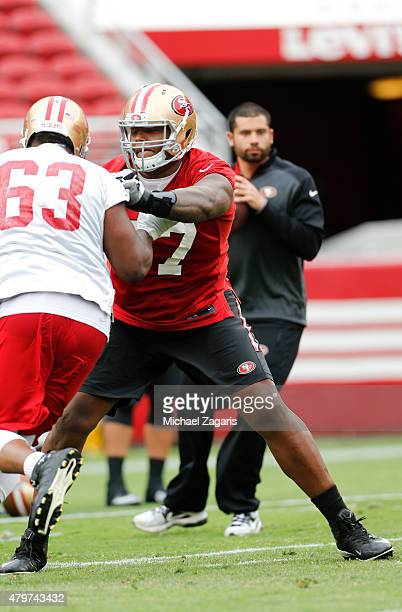 San Francsico 49ers seventh round draft pick Trent Brown goes through drills during the teams Mini Camp at Levi Stadium on June 9 2015 in Santa Clara...