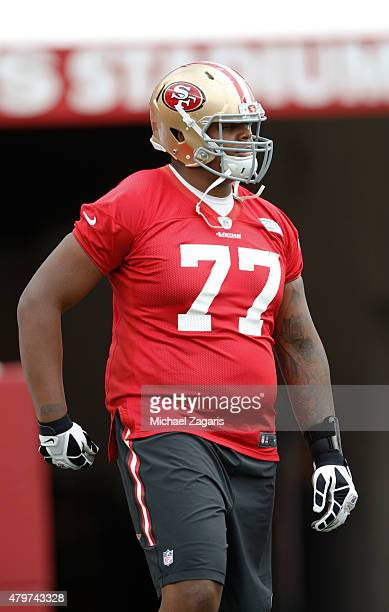 San Francsico 49ers seventh round draft pick Trent Brown stands on the field during the teams Mini Camp at Levi Stadium on June 9 2015 in Santa Clara...