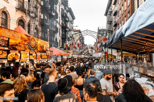 san gennaro festival in the little italy, nyc - mulberry street stock pictures, royalty-free photos & images
