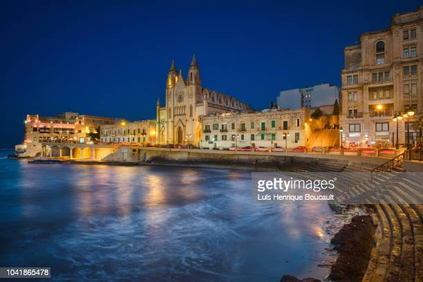 san giljan & blue hour - valletta stock pictures, royalty-free photos & images