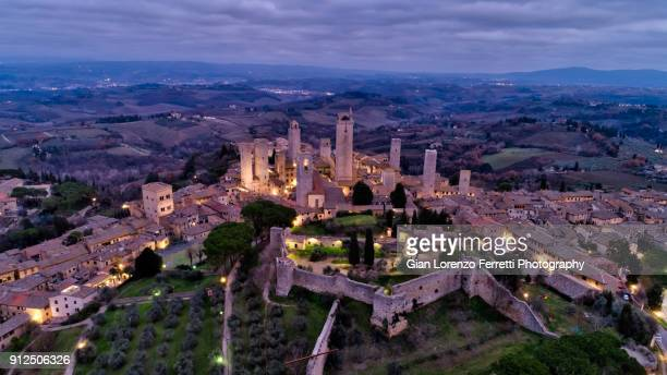 san gimignano, tuscany - aerial view - siena italy stock photos and pictures