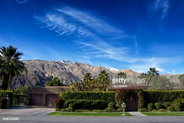 san jacinto mountains and palm springs streetscape, southern california, usa - palm springs california stock pictures, royalty-free photos & images