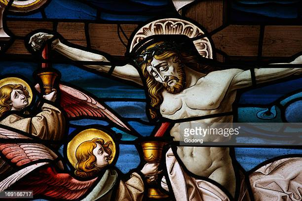 San Jeronimo's church Stained glass Crucifixion