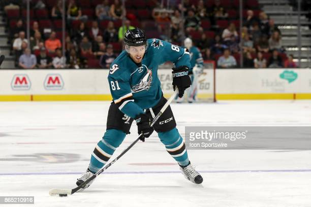 San Jose Barracuda defenseman Jeremy Roy shoots the puck during the first period of the American Hockey League game between the San Jose Barracuda...