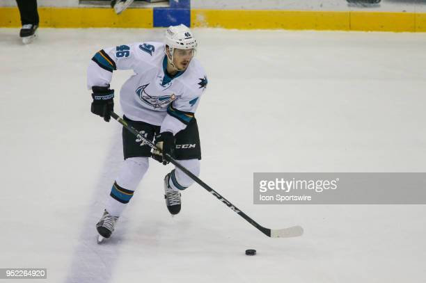 San Jose Barracuda left wing Adam Helewka controls the puck during a hockey game between the Chicago Wolves and Tuscon Roadrunners on April 27 at...