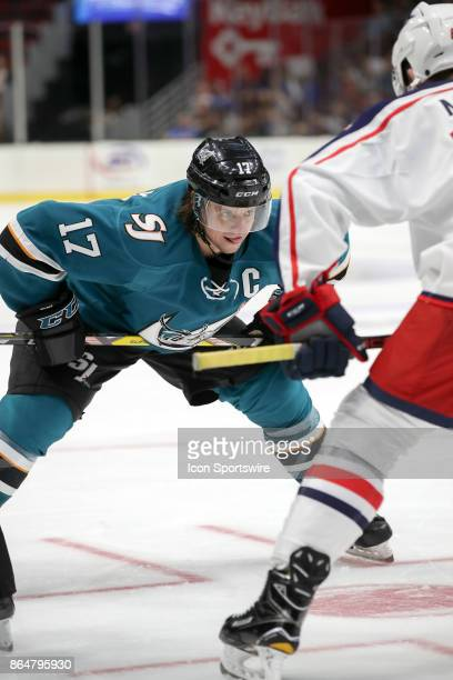San Jose Barracuda left wing John McCarthy prepares to take a faceoff during the third period of the AHL hockey game between the San Jose Barracuda...