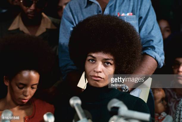 Angela Davis militant on trial for alleged activities in connection with Marin County Court shootout attends her first news conference since being...
