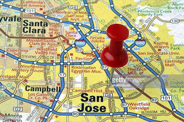 san jose, california on a map - santa clara county california stock pictures, royalty-free photos & images
