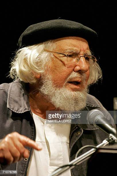 Nicaraguan writer Ernesto Cardenal delivers a speech at the National University of Costa Rica where he was presented the Honoris Causa Doctorate at...