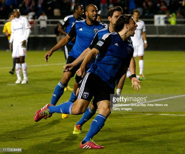 San Jose Earthquakes' Alan Gordon celebrates his game tying goal in the 94th minute against Deportivo Toluca FC in the second half at Buck Shaw...