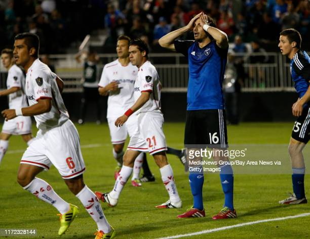 San jose Earthquakes' Alan Gordon reacts to a missed scoring opportunity against Deportivo Toluca FC in the second half at Buck Shaw Stadium in Santa...