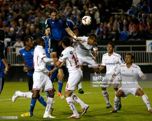San jose Earthquakes' Alan Gordon scores the game tying goal in the 94th minute against Deportivo Toluca FC in the second half at Buck Shaw Stadium...