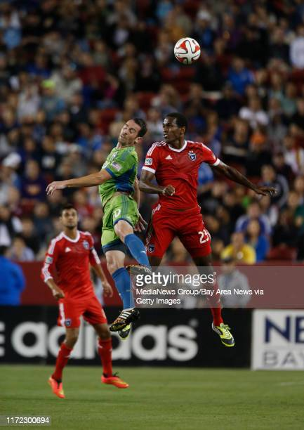 San Jose Earthquakes' Atiba Harris goes up for a header during the second half of their game against the Seattle Sounders FC Zach Scott at the new...