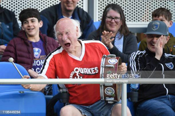 San Jose Earthquakes cheerleader Krazy George Henderson during the MLS match between the Portland Timbers and the San Jose Earthquakes at Avaya...