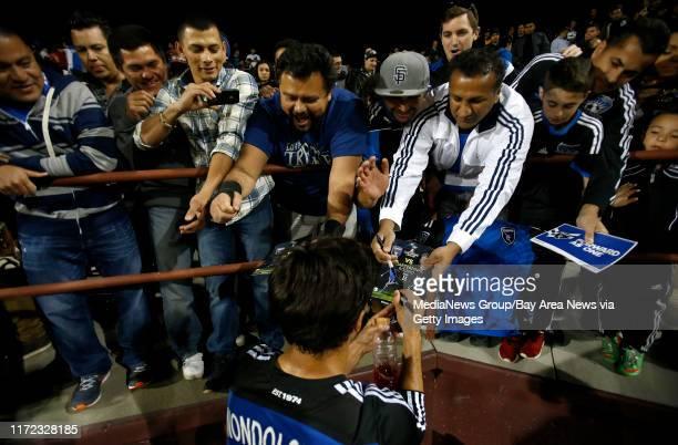 San Jose Earthquakes' Chris Wondolowski signs autographs following their 11 tie against Deportivo Toluca FC at Buck Shaw Stadium in Santa Clara Calif...