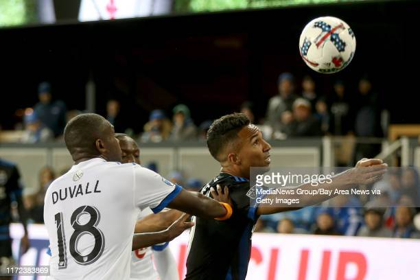 San Jose Earthquakes' Danny Hoesen tries to control the ball against Montreal Impact's Chris Duvall in the second half of their MLS season opener at...