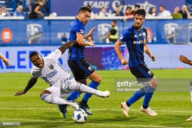 San Jose Earthquakes defender Harold Cummings collides with Montreal Impact defender Daniel Lovitz during the San Jose Earthquakes versus the...