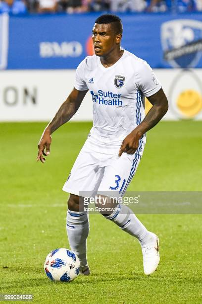 San Jose Earthquakes defender Harold Cummings looks for a pass target during the San Jose Earthquakes versus the Montreal Impact game on July 14 at...
