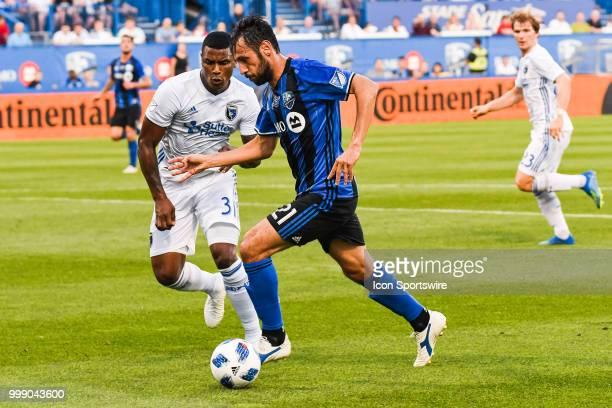 San Jose Earthquakes defender Harold Cummings runs towards Montreal Impact forward Matteo Mancosu during the San Jose Earthquakes versus the Montreal...
