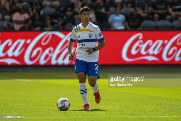 San Jose Earthquakes defender Luciano Abecasis during the Los Angeles FC vs San Jose Earthquakes MLS game on October 16 at BANC of California Stadium...