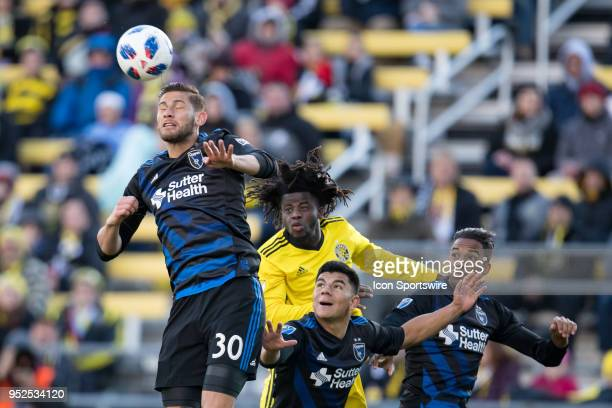 San Jose Earthquakes defender Yeferson Quintana heads the ball in the MLS regular season game between the Columbus Crew SC and the San Jose...