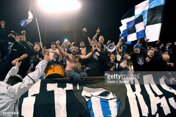 San Jose Earthquakes fans cheers during the California Clasico game between the San Jose Earthquakes and the Los Angeles Galaxy at Cashman Field on...