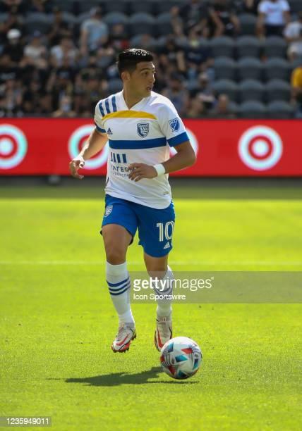 San Jose Earthquakes forward Cristian Espinoza during the Los Angeles FC vs San Jose Earthquakes MLS game on October 16 at BANC of California Stadium...