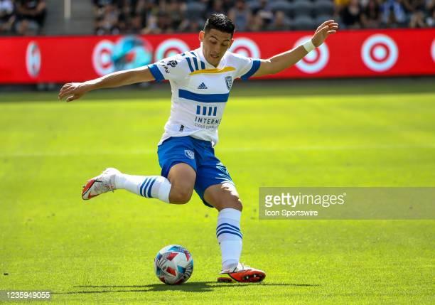 San Jose Earthquakes forward Cristian Espinoza kicks during the Los Angeles FC vs San Jose Earthquakes MLS game on October 16 at BANC of California...