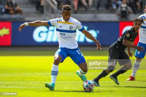San Jose Earthquakes forward Cristian Espinoza makes a move during the Los Angeles FC vs San Jose Earthquakes MLS game on October 16 at BANC of...