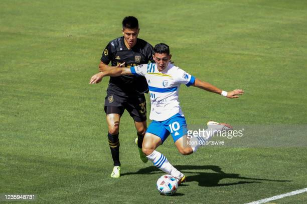 San Jose Earthquakes forward Cristian Espinoza turns on the ball during the Los Angeles FC vs San Jose Earthquakes MLS game on October 16 at BANC of...