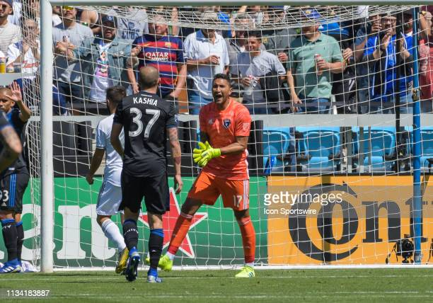 San Jose Earthquakes goalkeeper Daniel Vega reacts after saving the goal during the match between the San Jose Earthquakes and the Los Angeles...