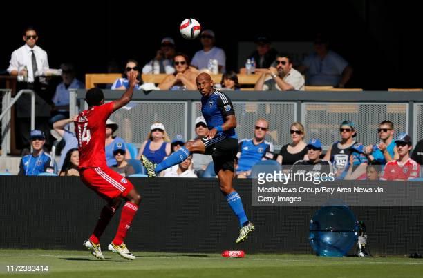 San Jose Earthquakes' Jordan Stewart reacts after hitting a header against FC Dallas' Atiba Harris in the first half at Avaya Stadium in San Jose...