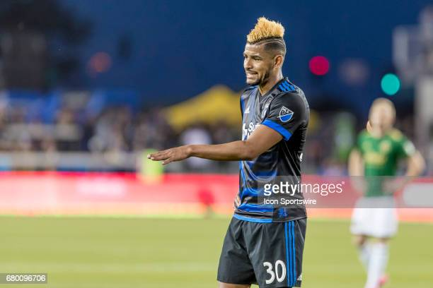 San Jose Earthquakes midfielder Anibal Godoy tries to keep everyone calm during the Major League Soccer game between the Portland Timbers and the San...