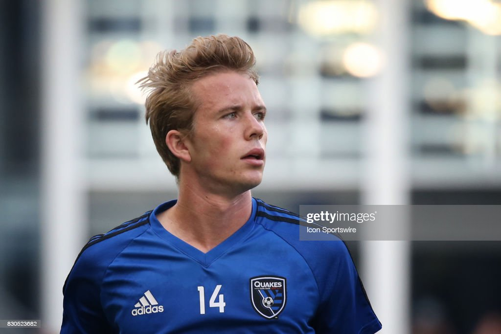 San Jose Earthquakes midfielder Jackson Yueill (14) before the Lamar Hunt US Open Cup semifinal between the San Jose Earthquakes and Sporting KC on August 9th, 2017 at Children's Mercy Park in Kansas City, KS.