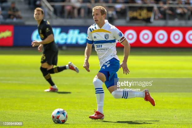 San Jose Earthquakes midfielder Jackson Yueill dribbles during the Los Angeles FC vs San Jose Earthquakes MLS game on October 16 at BANC of...