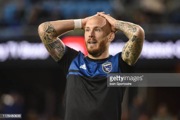 San Jose Earthquakes midfielder Magnus Eriksson reacts during the MLS match between the Minnesota United and the San Jose Earthquakes at Avaya...