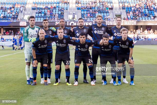 San Jose Earthquakes pose prior to the MLS game between the New England Revolution and the San Jose Earthquakes on June 13 at Avaya Stadium in San...