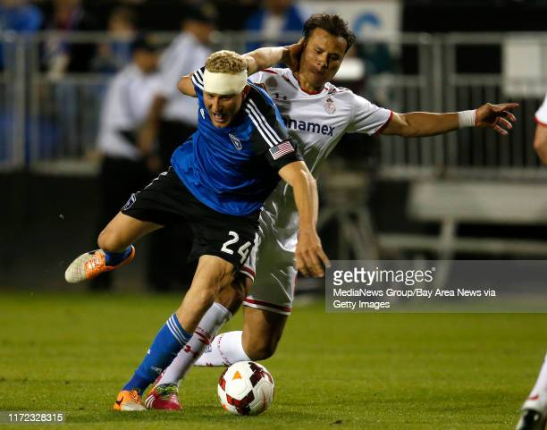 San Jose Earthquakes' Steven Lenhart fights for the ball against Deportivo Toluca FC in the second half at Buck Shaw Stadium in Santa Clara Calif on...