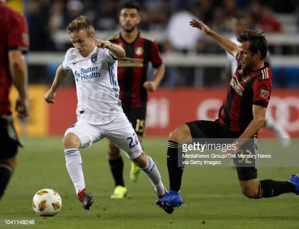 San Jose Earthquakes' Tommy Thompson controls the ball against Atlanta United's Kevin Kratz in the second half at Avaya Stadium in San Jose Calif on...