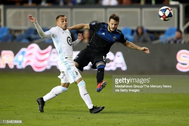 San Jose Earthquakes' Vako kicks the ball against Minnesota United's Miguel Ibarra during the second half of a MLS game at Avaya Stadium in San Jose...