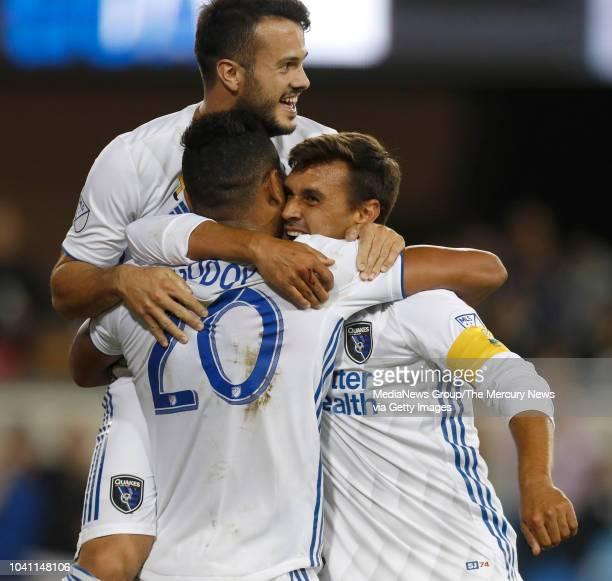 San Jose Earthquakes' Vako Qazaishvili San Jose Earthquakes' Anibal Godoy congratulate San Jose Earthquakes' Chris Wondolowski on his goal against...