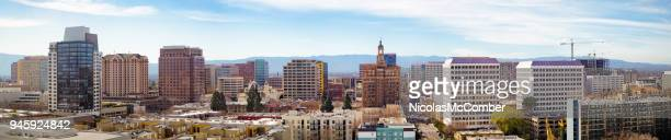 San Jose elevated downtown skyline wide banner panoramic view