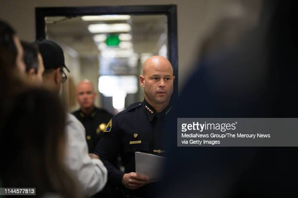 San Jose Police Chief Eddie Garcia, center, walks into a press conference regarding the death of 59-year-old Bambi Larson at the San Jose Police...
