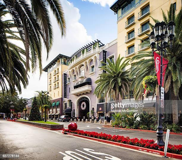 san jose santana row hotel valencia christmas decorated - san jose california stock photos and pictures