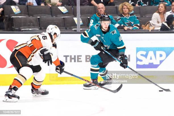 San Jose Sharks center Antti Suomela carries the puck during the San Jose Sharks game versus the Anaheim Ducks on October 3 at SAP Center at San Jose...